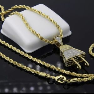 14K ICED OUT The Plug Pendant Chain Necklace New